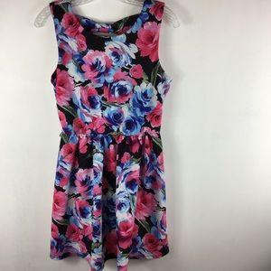 Lily Rose floral skater dress bow tie back sz L